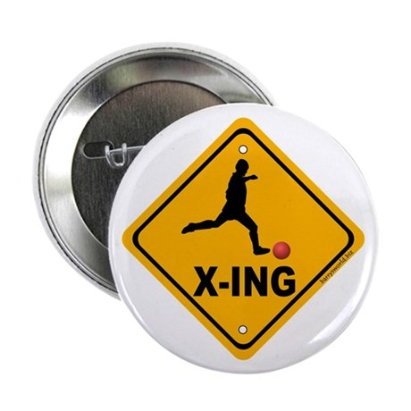 "Kickball X-ing 2.25"" Button (10 pack)"