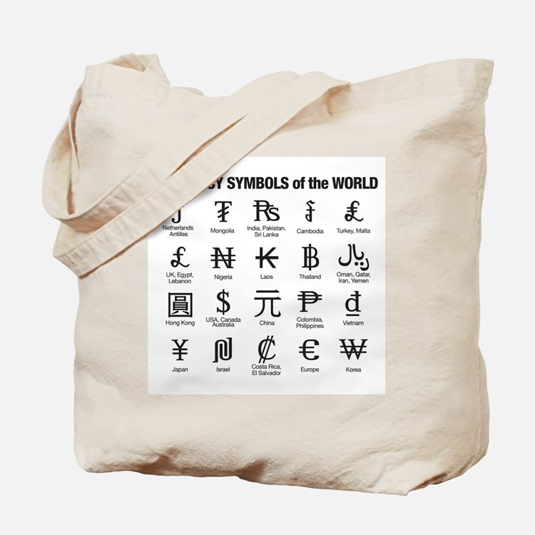 World Currency Symbols Tote Bag