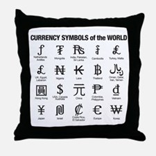 World Currency Symbols Throw Pillow