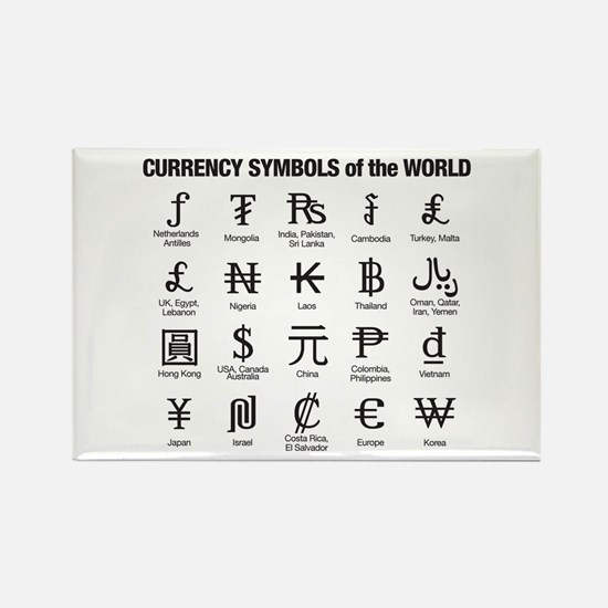 World Currency Symbols Rectangle Magnet
