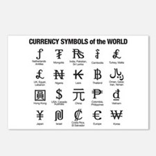 World Currency Symbols Postcards (Package of 8)