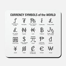 World Currency Symbols Mousepad