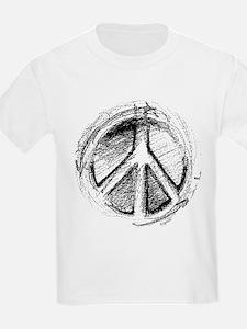 Urban Peace Sign Sketch Kids T-Shirt
