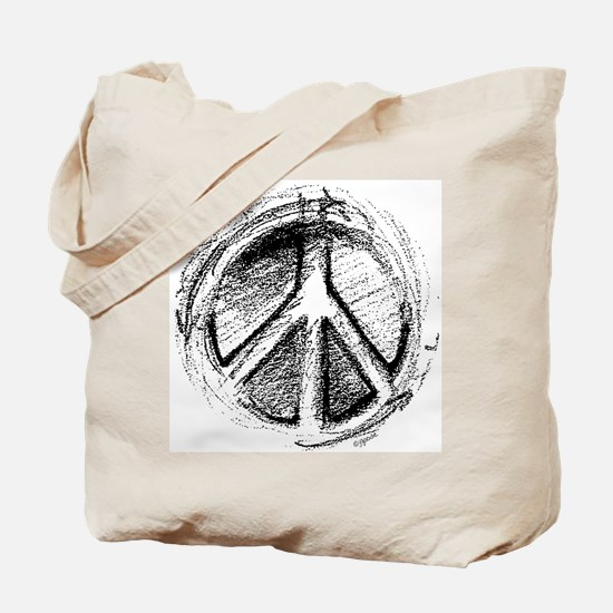 Urban Peace Sign Sketch Tote Bag