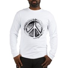 Urban Peace Sign Sketch Long Sleeve T-Shirt