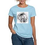 Urban Peace Sign Sketch Women's Pink T-Shirt