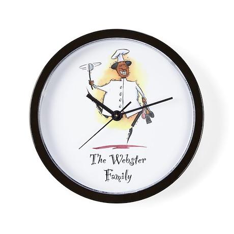 Personalize Black Chef Wall Clock