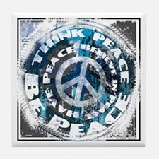 Urban Peace Blue & Blk Tile Coaster