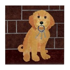 Labradoodle With Jailer Keys Tile Coaster