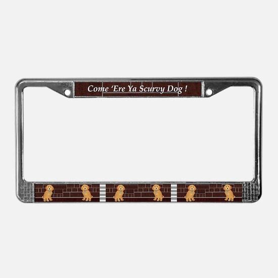 Labradoodle With Jailer Keys License Plate Frame