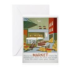 Market Vintage WPA Art Greeting Cards (Pk of 10)