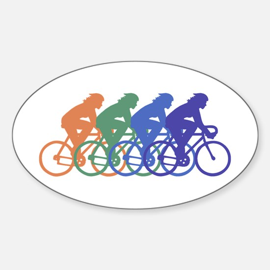 Cycling (Female) Oval Decal