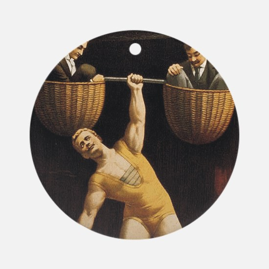 Weightlifting Old School Round Ornament