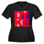 DYKE Women's Plus Size V-Neck Dark T-Shirt