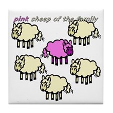 Pink Sheep Tile Coaster