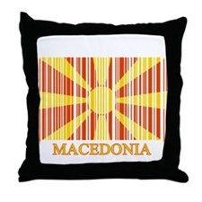Barcode Macedonia Flag Throw Pillow