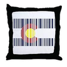 Barcode Colorado Flag Throw Pillow
