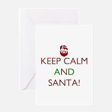 keep calm and Santa Greeting Cards