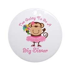 Monkey Future Big Sister Ornament (Round)