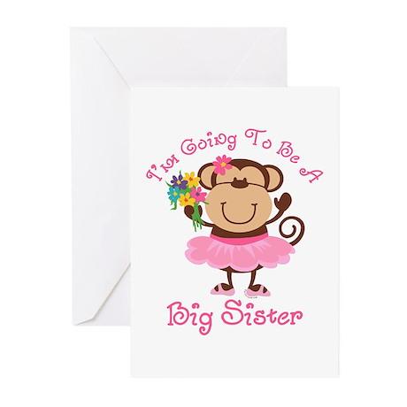 Monkey Future Big Sister Greeting Cards (Pk of 10)