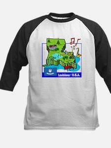 Louisiana Map Kids Baseball Jersey