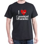 I Love Classical Music (Front) Black T-Shirt