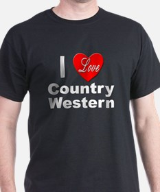 I Love Country Western (Front) Black T-Shirt