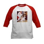 Sheltie Christmas with Santa Kids Baseball Jersey