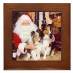 Sheltie Christmas with Santa Framed Tile
