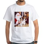 Sheltie Christmas with Santa White T-Shirt