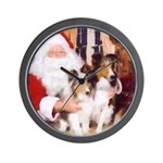Sheltie Christmas with Santa Wall Clock