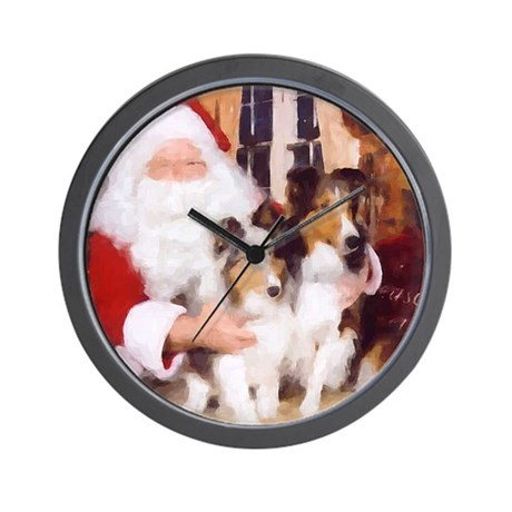 Sheltie Christmas with Santa Wall Clock