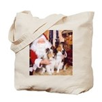 Sheltie Christmas with Santa Tote Bag