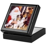 Sheltie Christmas with Santa Keepsake Box