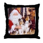 Sheltie Christmas with Santa Throw Pillow
