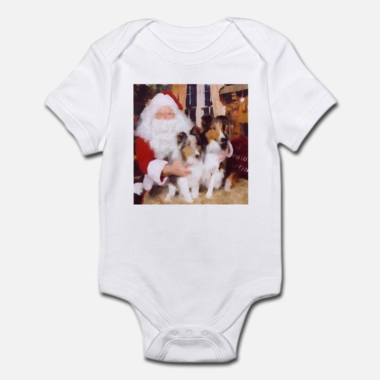 Sheltie Christmas with Santa Infant Creeper