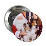 Sheltie Christmas with Santa Button