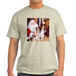 Sheltie Christmas with Santa Ash Grey T-Shirt
