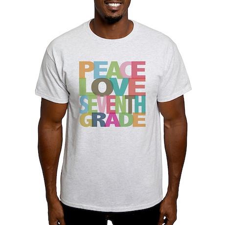 Peace Love Seventh Grade Light T-Shirt