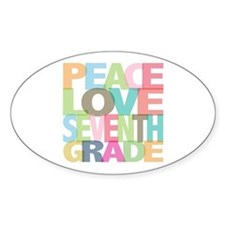 Peace Love Seventh Grade Oval Decal