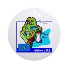 Maine Map Ornament (Round)