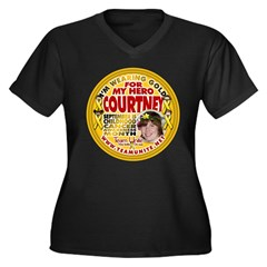 For Courtney Women's Plus Size V-Neck Dark T-Shirt