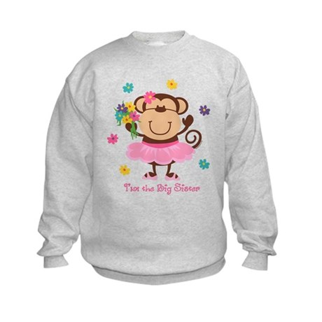Monkey Big Sister Kids Sweatshirt