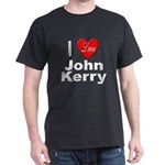 I Love John Kerry (Front) Black T-Shirt