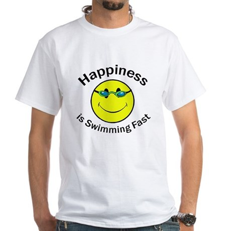Happiness is Swimming Fast White T-Shirt