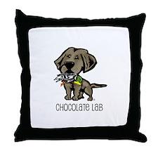 Chocolate Lab Hunting Dog Throw Pillow