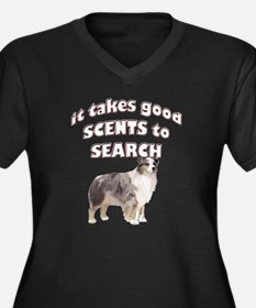 Aussie Search dog Women's Plus Size V-Neck Dark T-