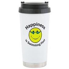 Happiness is Swimming Fast Travel Mug