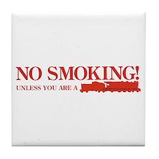 No Smoking Steam Engine Sign Tile Coaster
