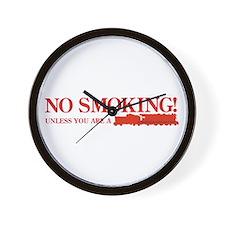 No Smoking Steam Engine Sign Wall Clock